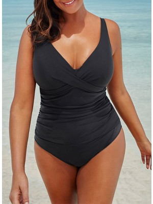 BLACK RUCHED V-NECK ONE PIECE SWIMSUIT